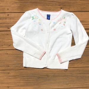 Girls size 10 Oshkosh cardigan white pink accents